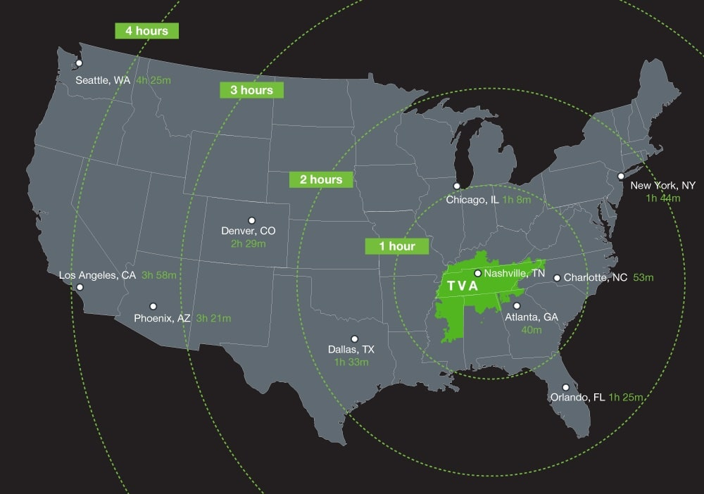TVA Airport Distance Map